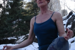 Carla doing yoga in Central Park
